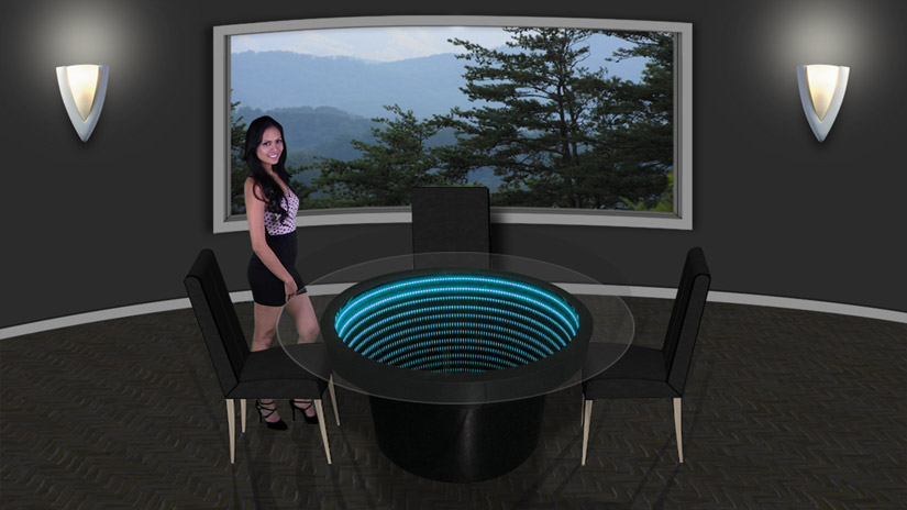 48 inch Round Infinity Mirror Dining Table