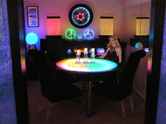 Light Furniture Table Tops Illuminated With Led Lasers And Other